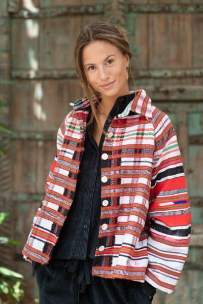 striped jacket made from a wool blanket