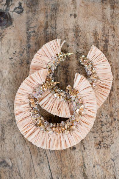 Cream raffia hoop earrings