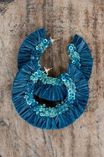 petrol blue raffia earrings
