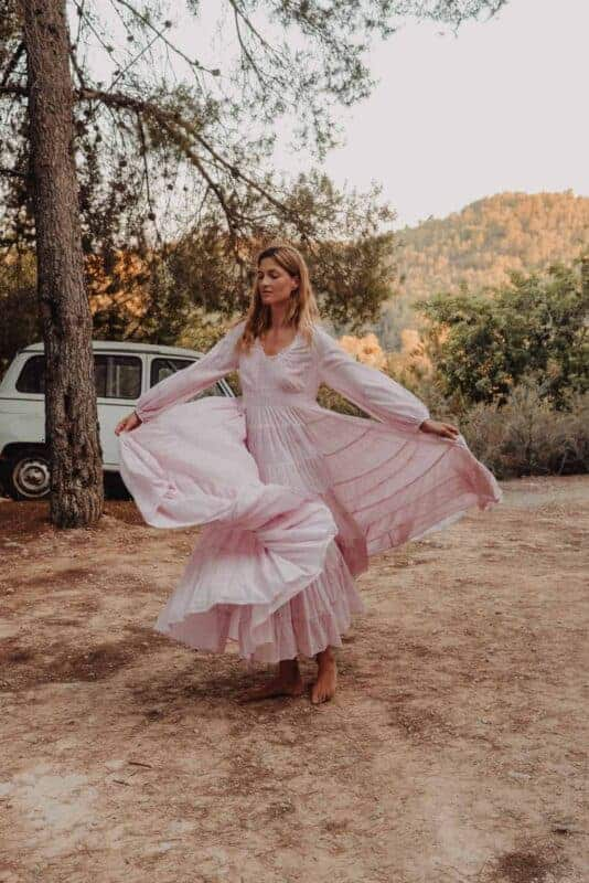 long dress with a full skirt