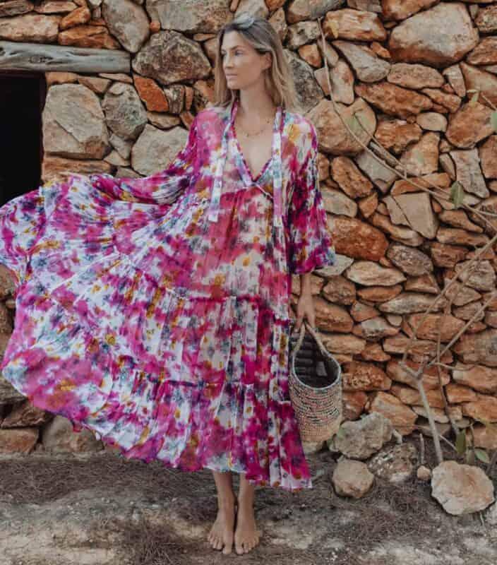Pink floral three tier dress