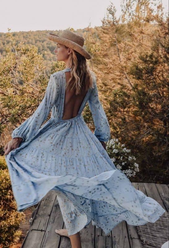 Blue star print backless maxi dress