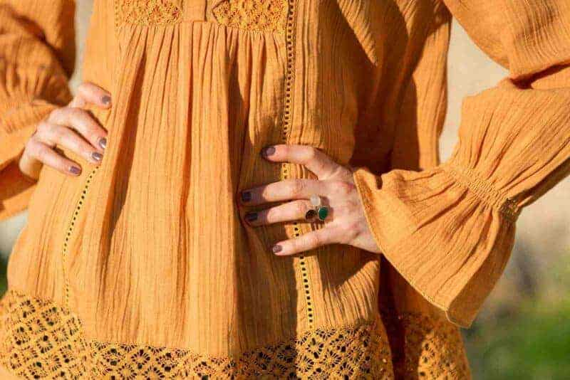 gold wire ring with semi precious stone