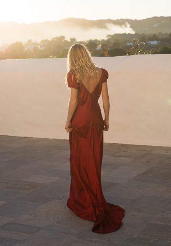 deep v neck silk dress