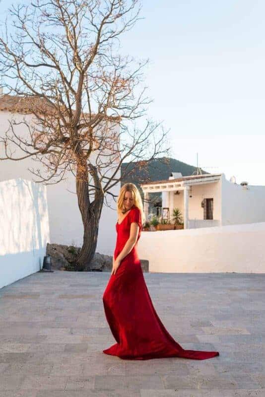 red silk dress at the church