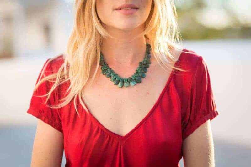 2 strand emerald necklace slice