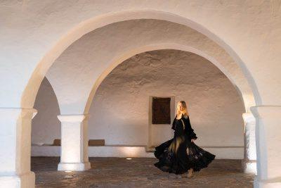 black lace dress and velvet jacket