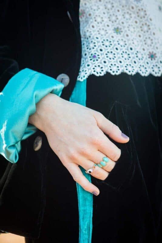 porcelain eye ring & 3 stone turquoise ring