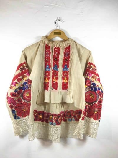 colourfully embroidered jacket