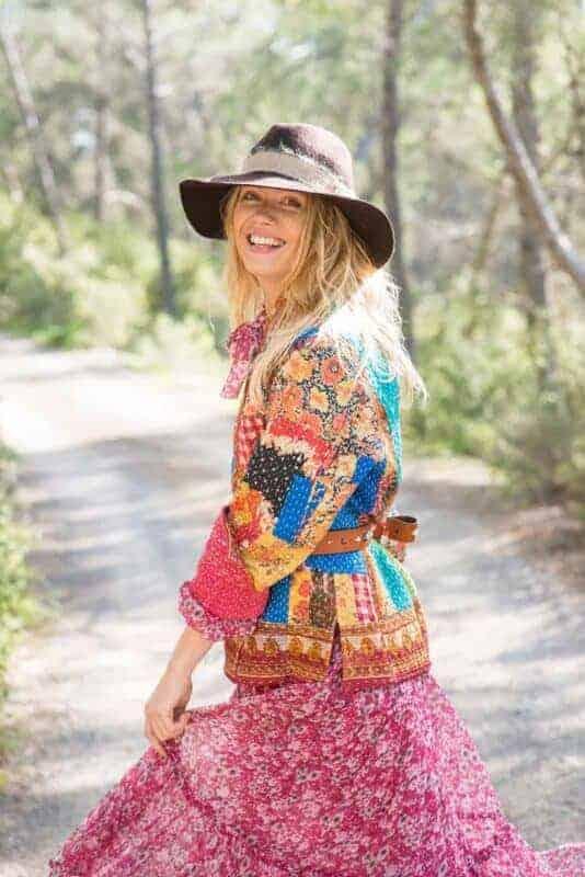 patchwork jacket & chiffon dress
