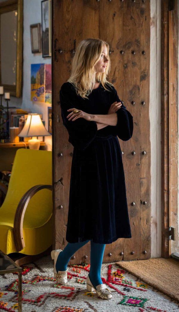velvet a-line dress