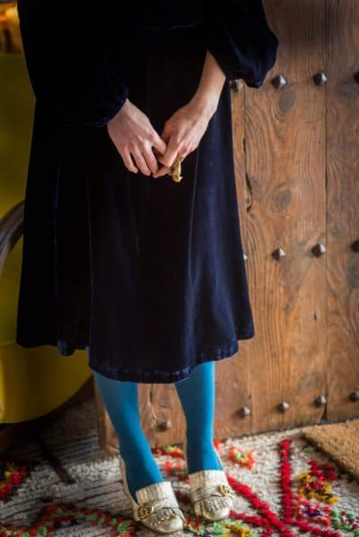 silk velvet a-line dress