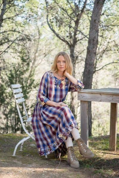 blue & brown checked dress