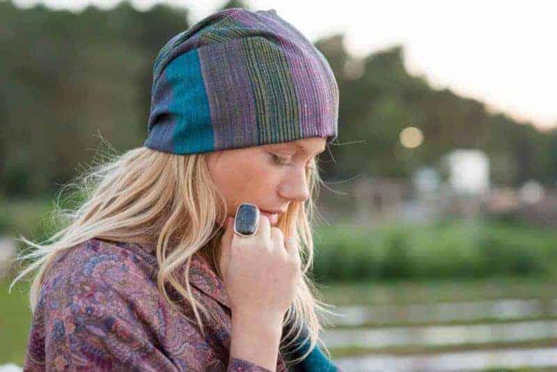 labradorite ring & wild silk scarf