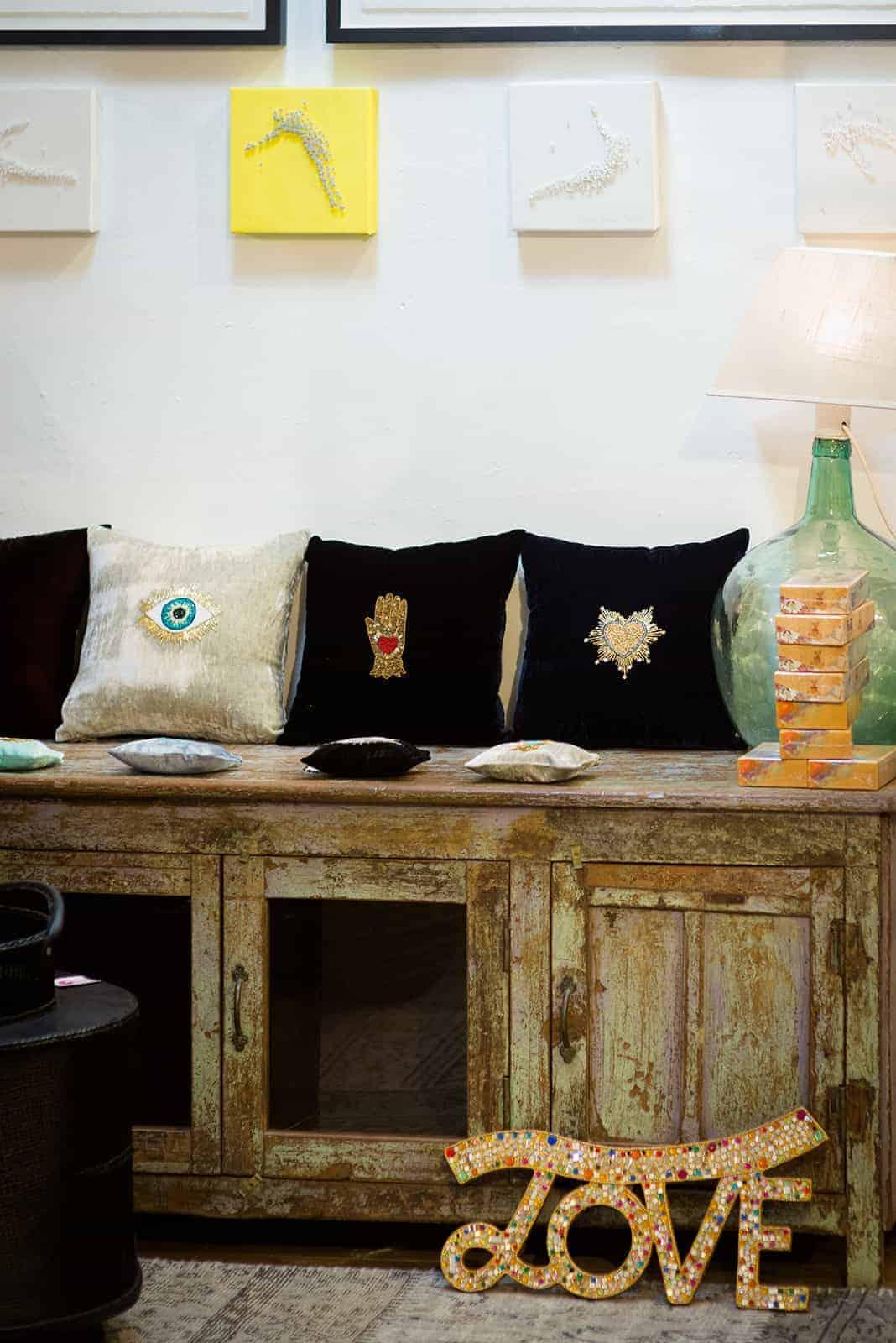 beaded velvet cushions