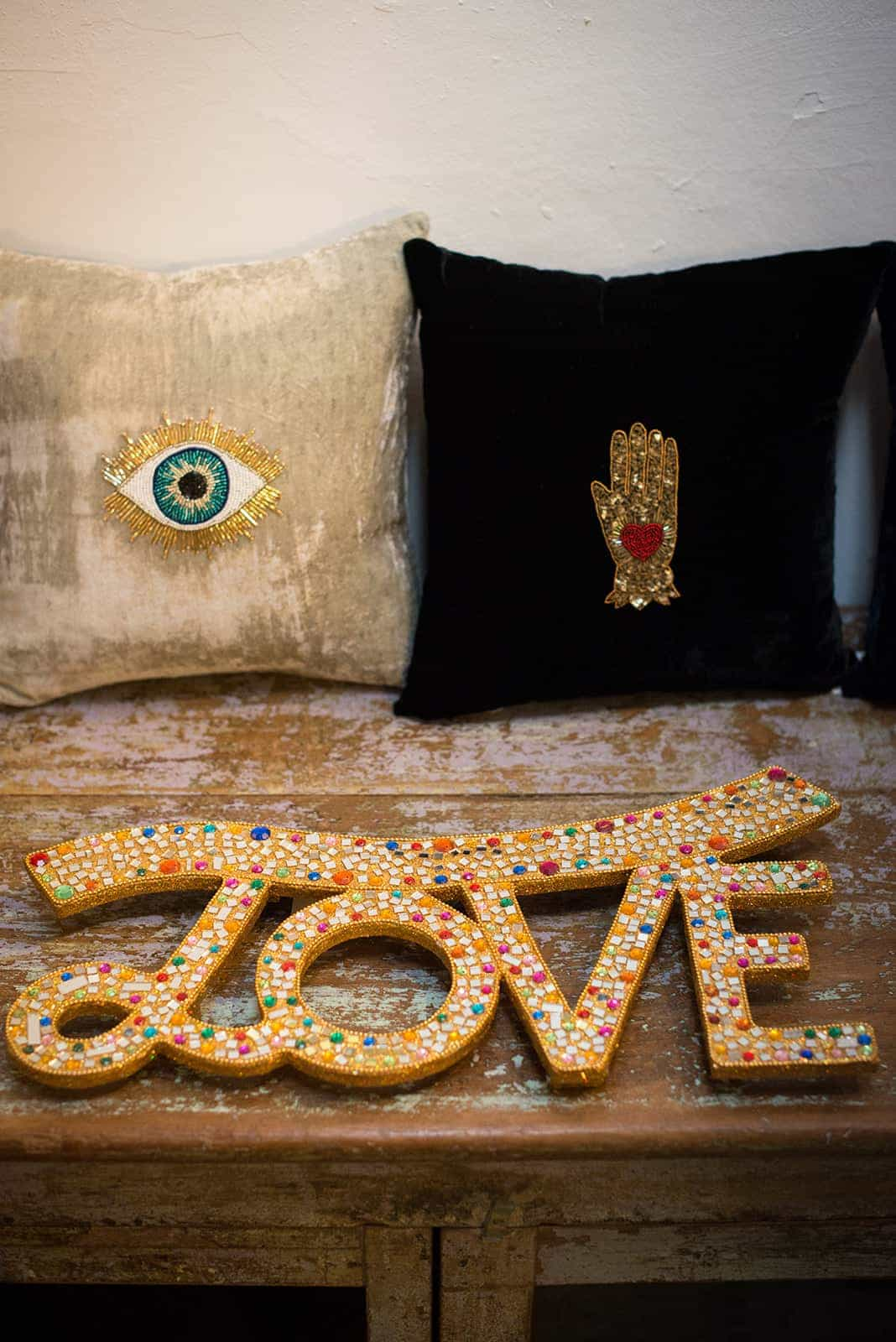 glitter love signs and cushions