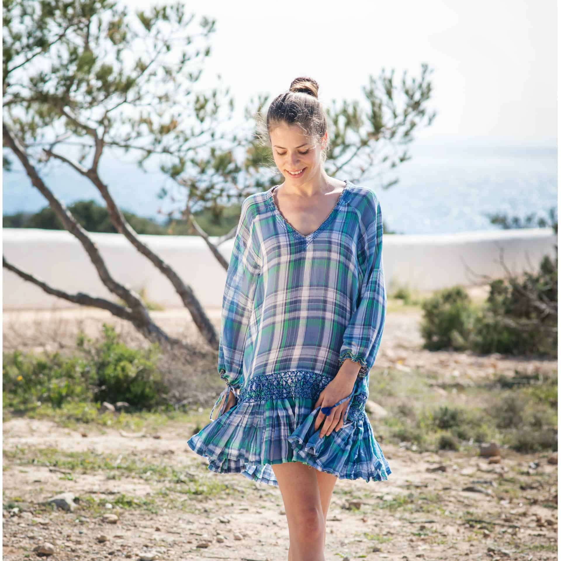 Blue and green checked dress