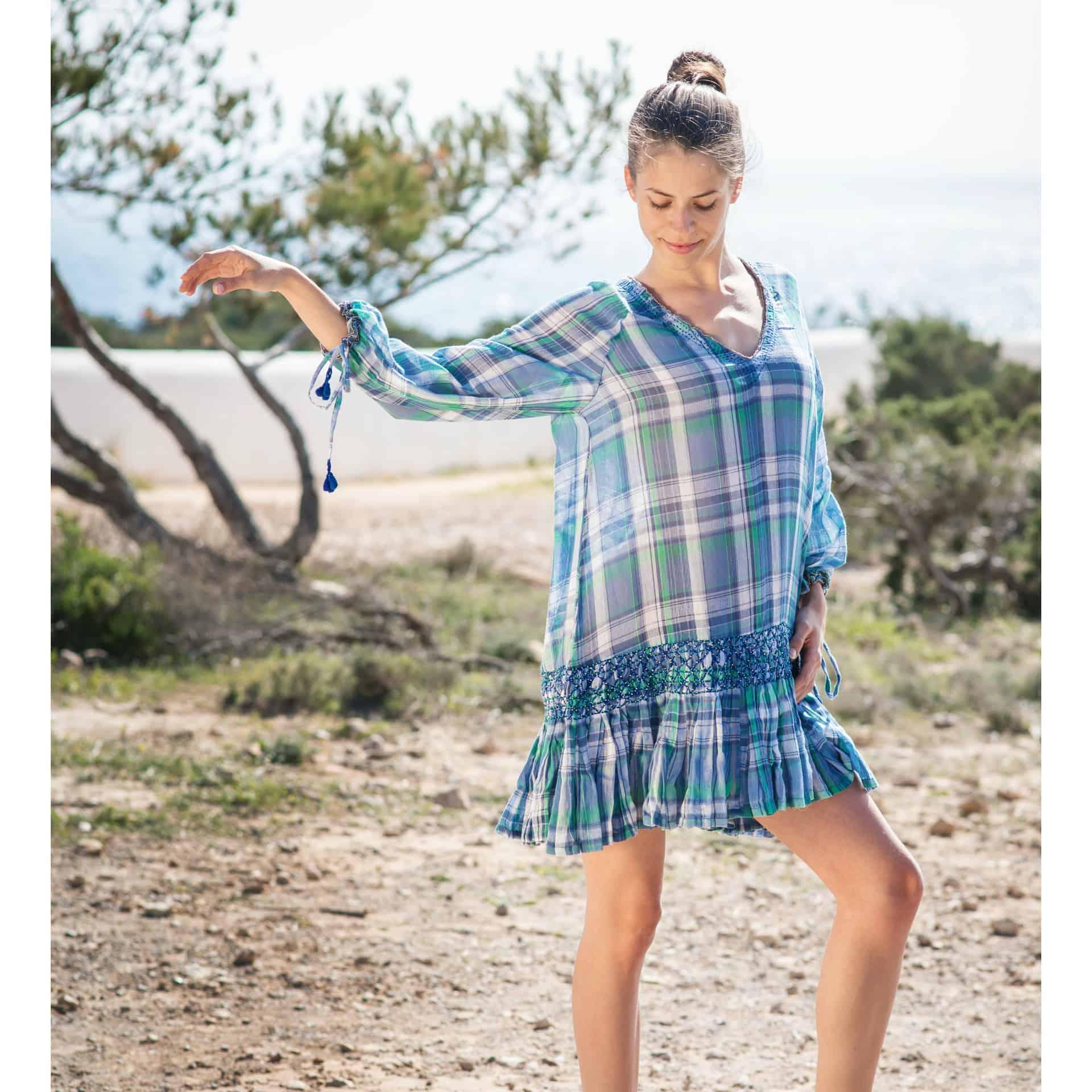 checked cotton blue tunic dress