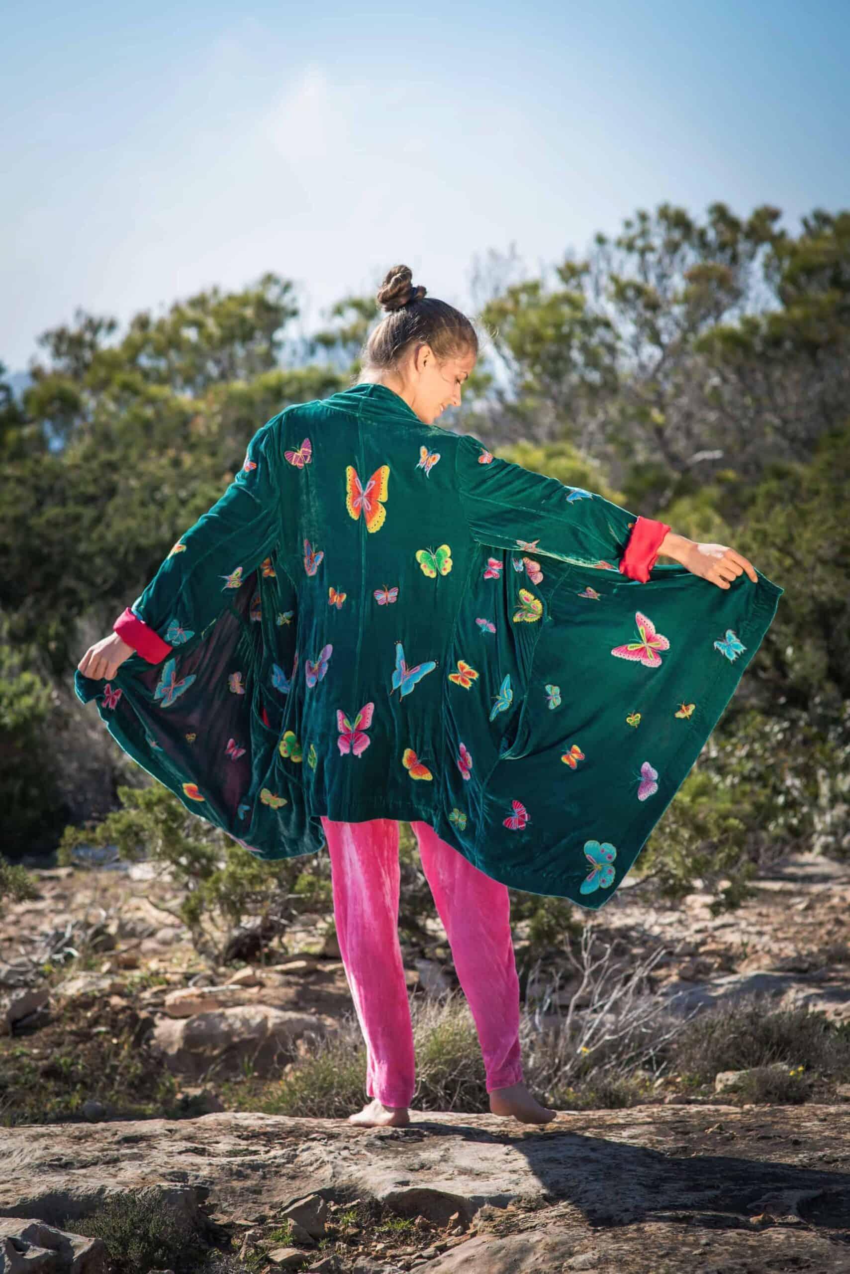 Flying Jacket in Green Velvet La Galeria Elefante Ibiza Victoria Made With Love & Laughter