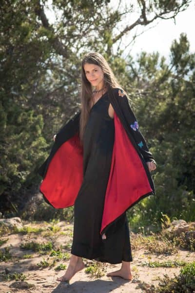 black flying jacket with red silk lining