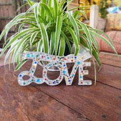 glitter love sign wall hanging