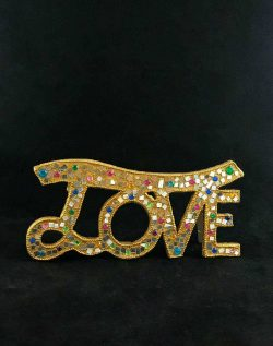 glitter mosaic gold love sign